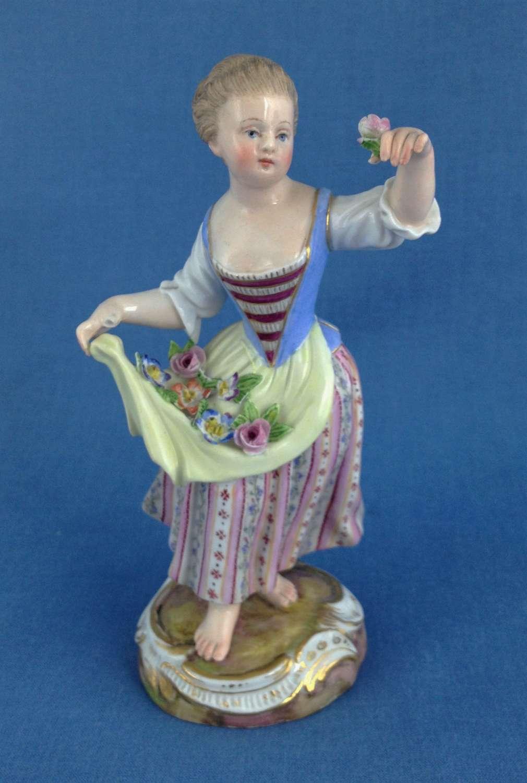 Meissen Figure Young Flower Girl German Porcelain C.1870