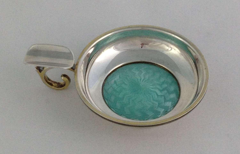 George V Art Deco Silver Guilloche Enamel Ashtray