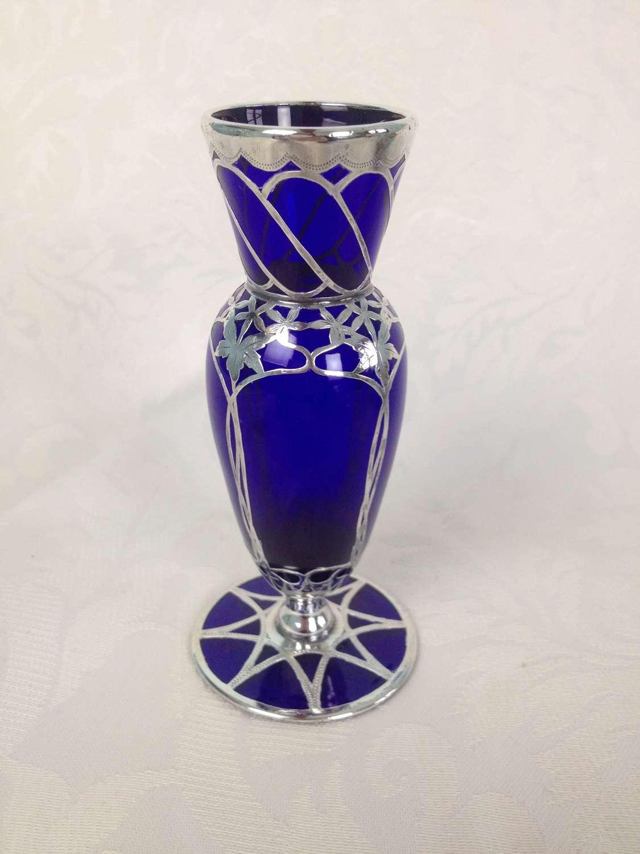 Edwardian English Silver Overlaid Bristol Blue Glass Baluster Vase Art
