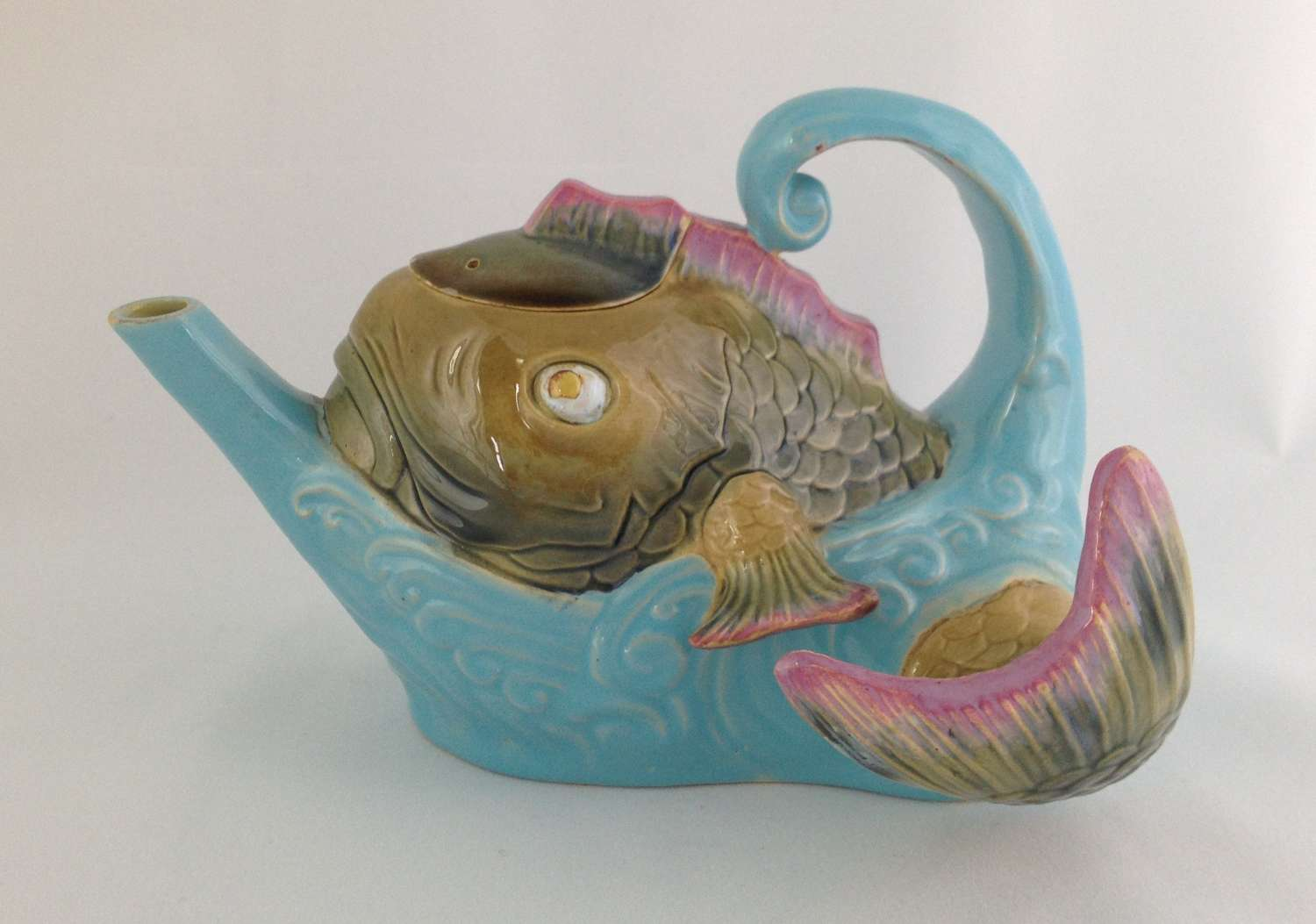 Rare Victorian Majolica Brownfield Teapot Fish Leaping From Sea