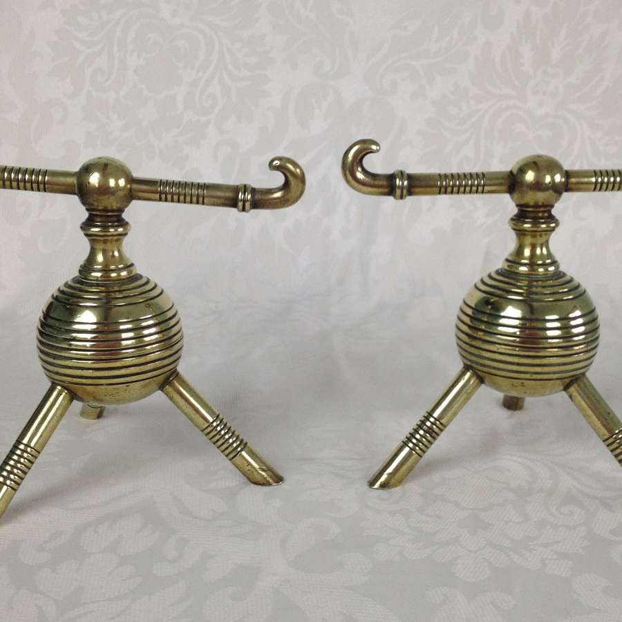 Christopher Dresser Brass Fire Dogs Benham & Froud C.1880