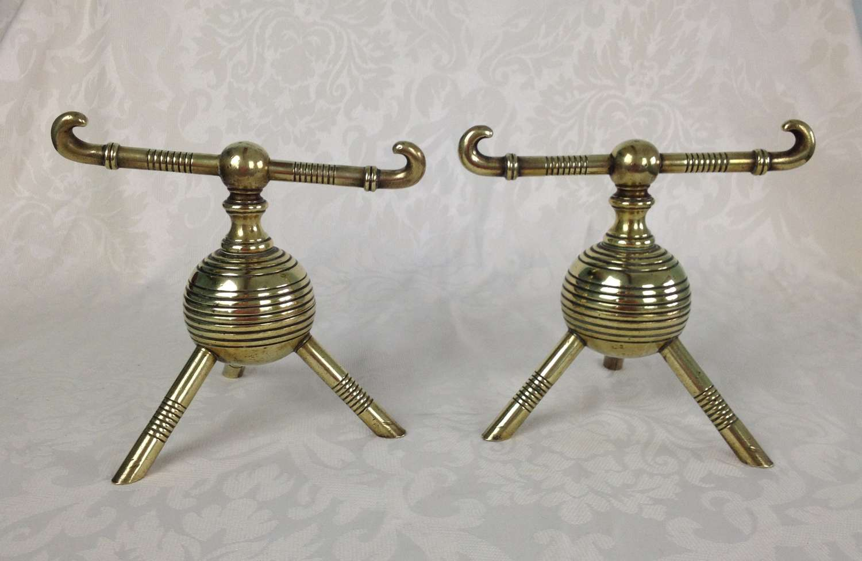 Christopher Dresser Brass Fire Dogs Benham & Froud C.1880