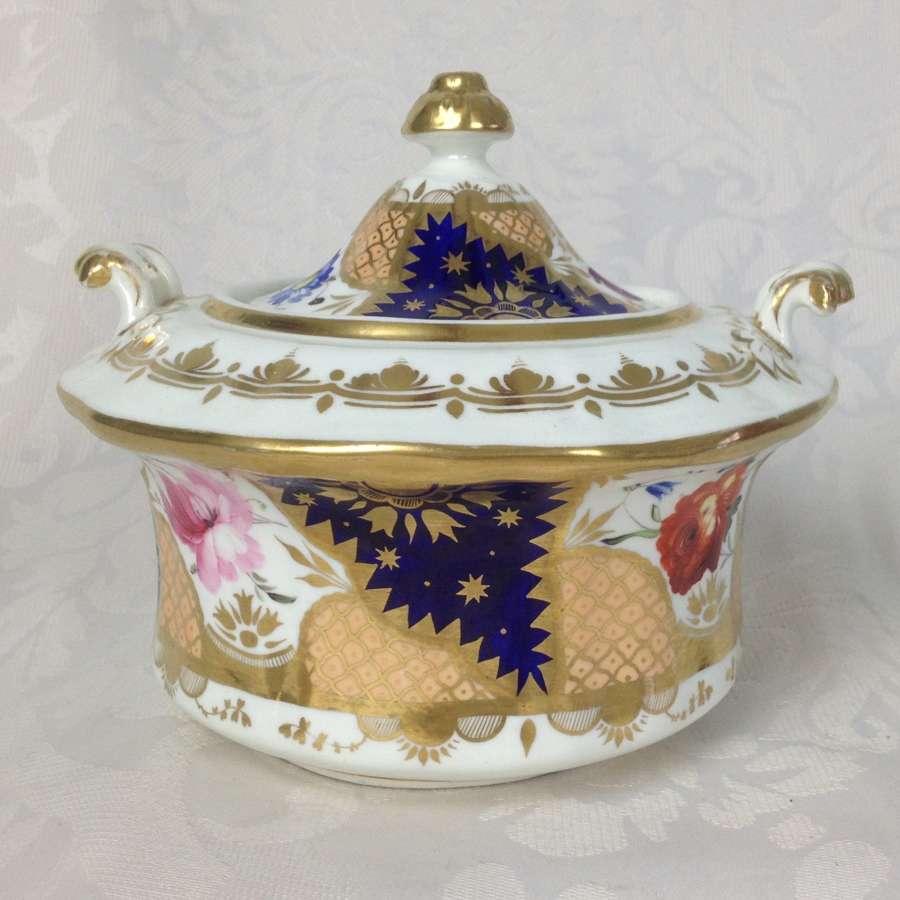 English Porcelain Rockingham Style Square Shape Lidded Sucrier 416