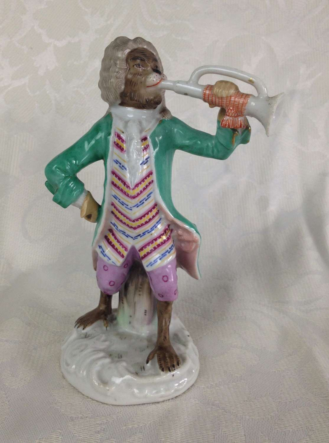 19th Century German Volkstedt Monkey Band Figure Trumpeter