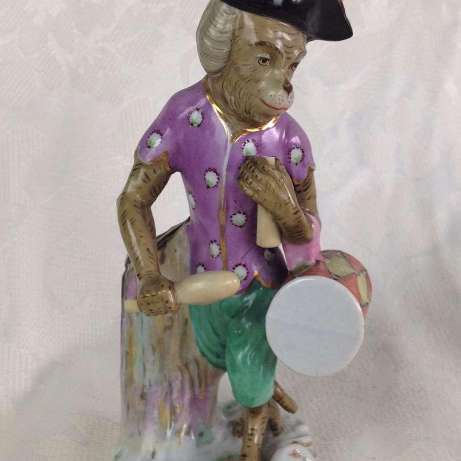 German Volkstedt Monkey Band Drummer Figure