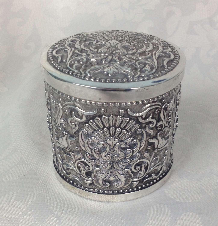 Art Deco Javanese Yogya Colonial Silver Tea Caddy