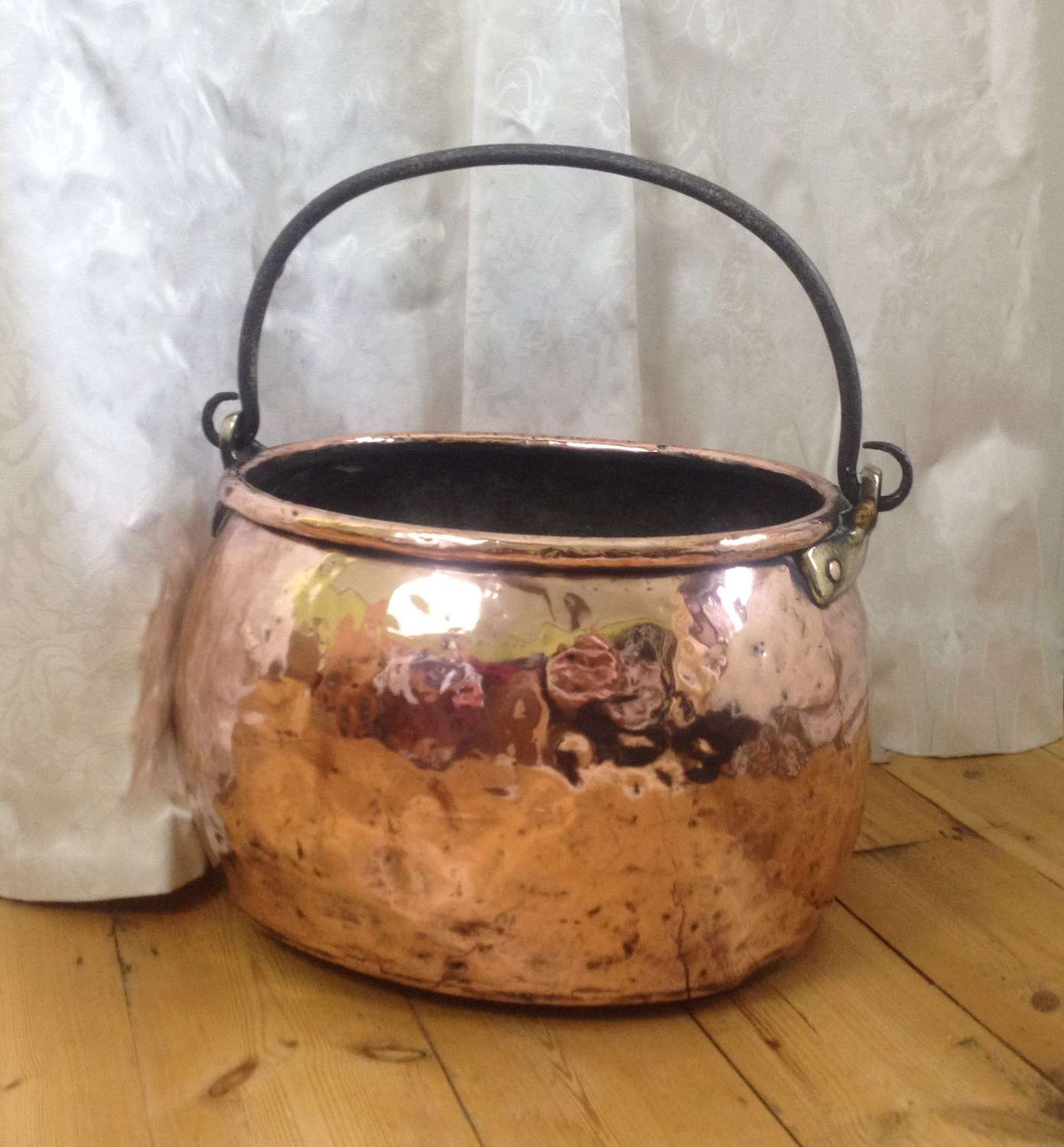 18th Century Georgian Copper Cauldron Stockpot Log Bin