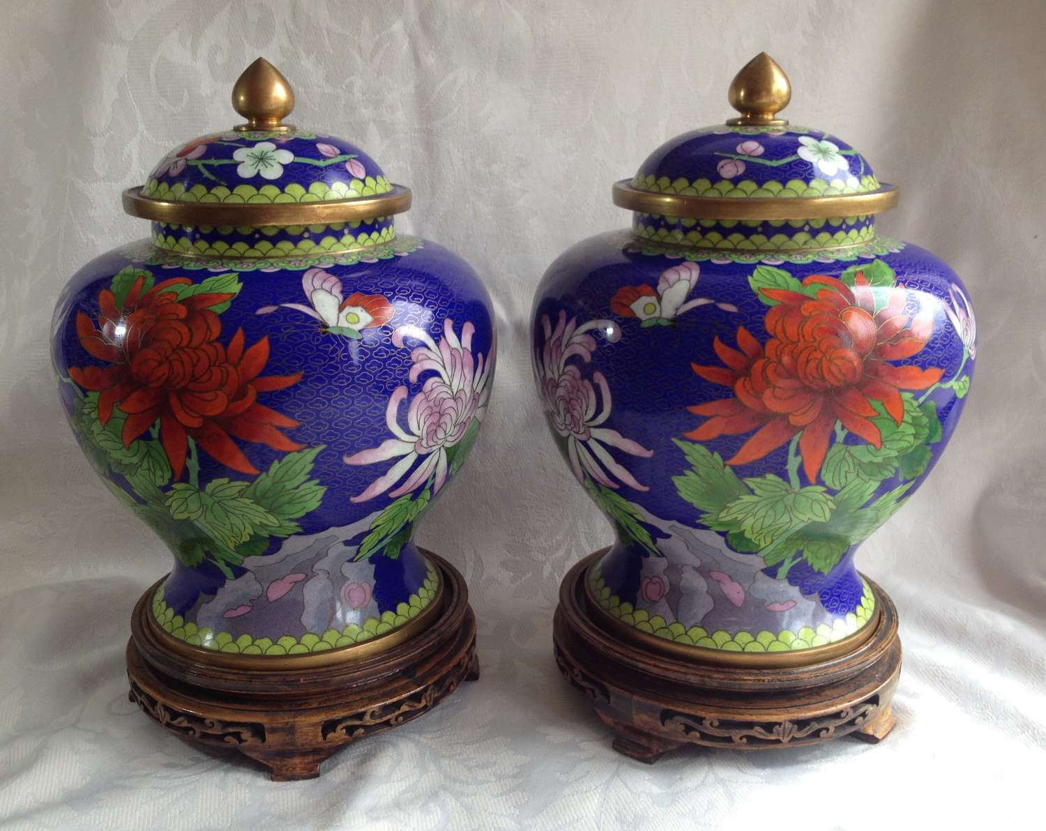 Large Mirror Pair Of Chinese Cloisonne Vases C.1900
