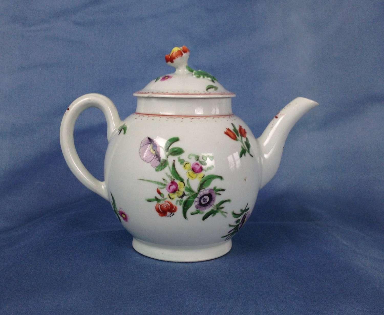 First Period Worcester Porcelain Globular Tea Pot Floral Enamels