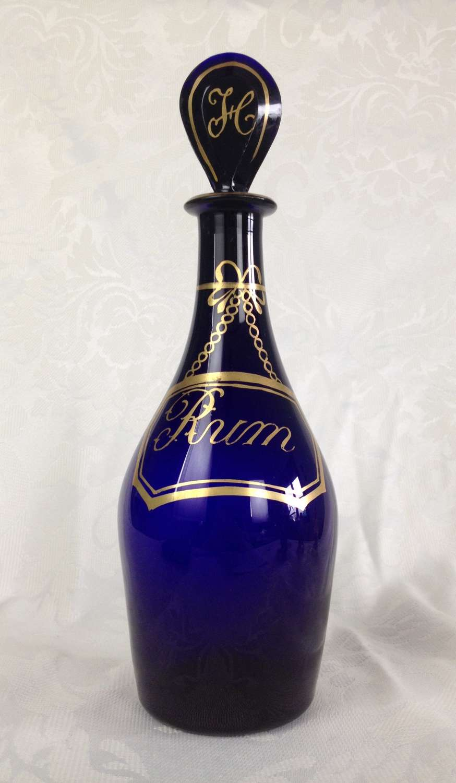 Georgian Bristol Blue Glass Club Decanter Rum