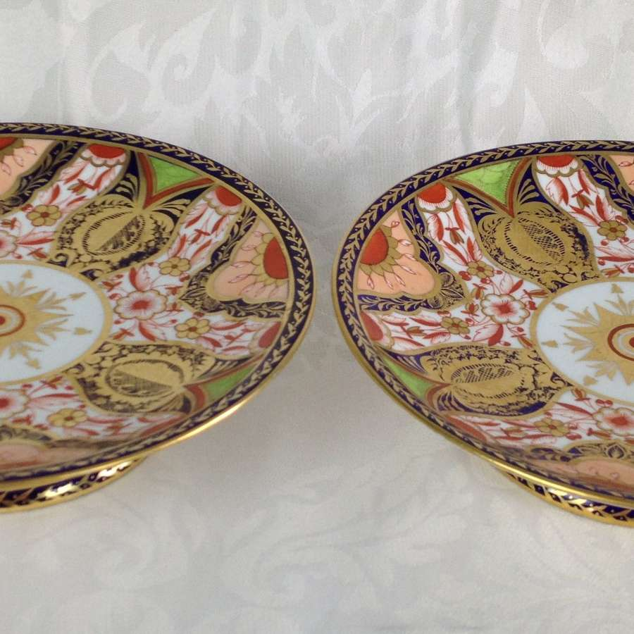 Pair 19th Century Royal Crown Derby Imari Tazzas Pattern 1384