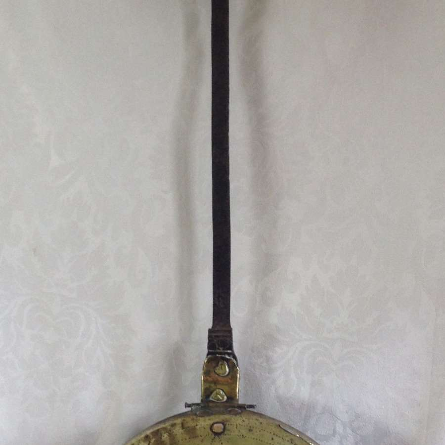 17th Century Punch Decorated Brass Warming Pan