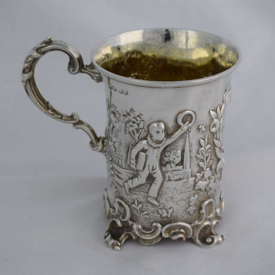 Victorian Repousse Silver Christening Mug Cup London 1852