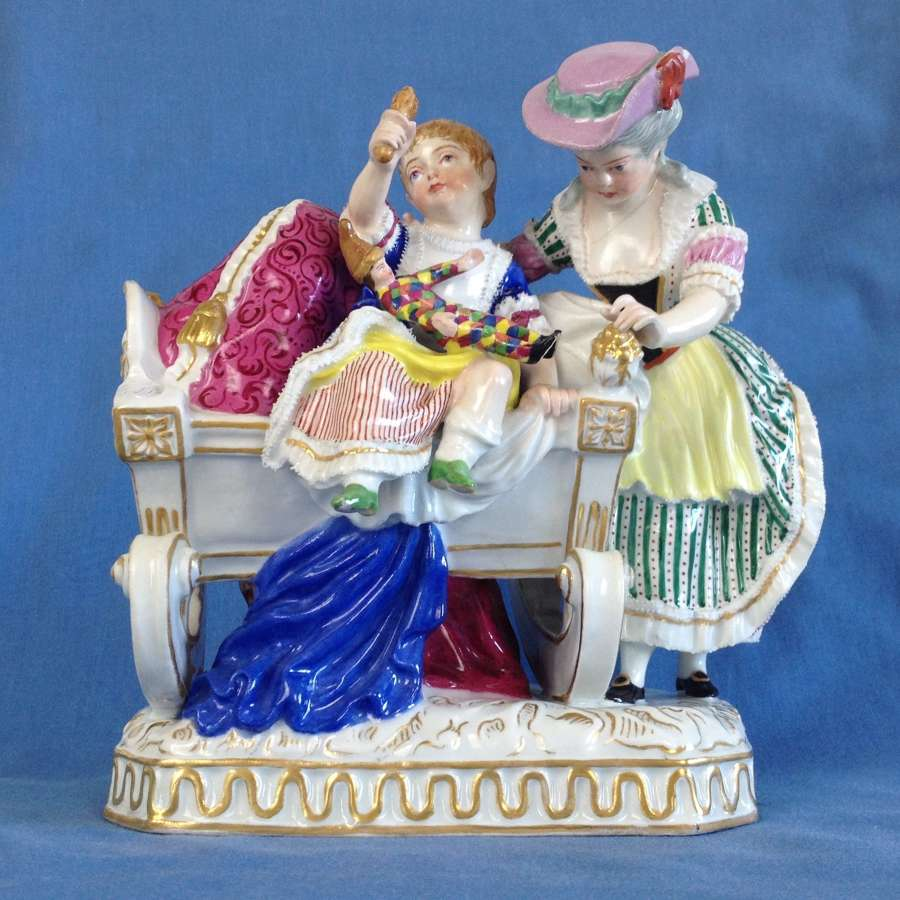 Royal Vienna Porcelain Figure Group Mother & Child Bedtime c.1850