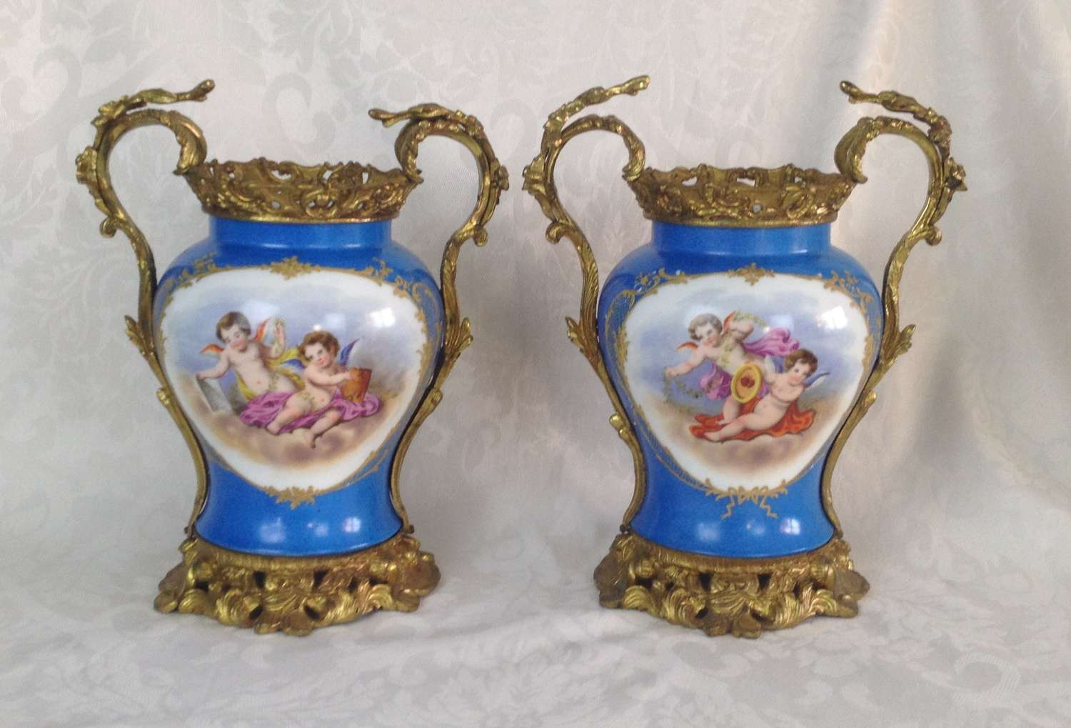 Pair Large French Sevres Style Ormolu Mounted Porcelain Vases
