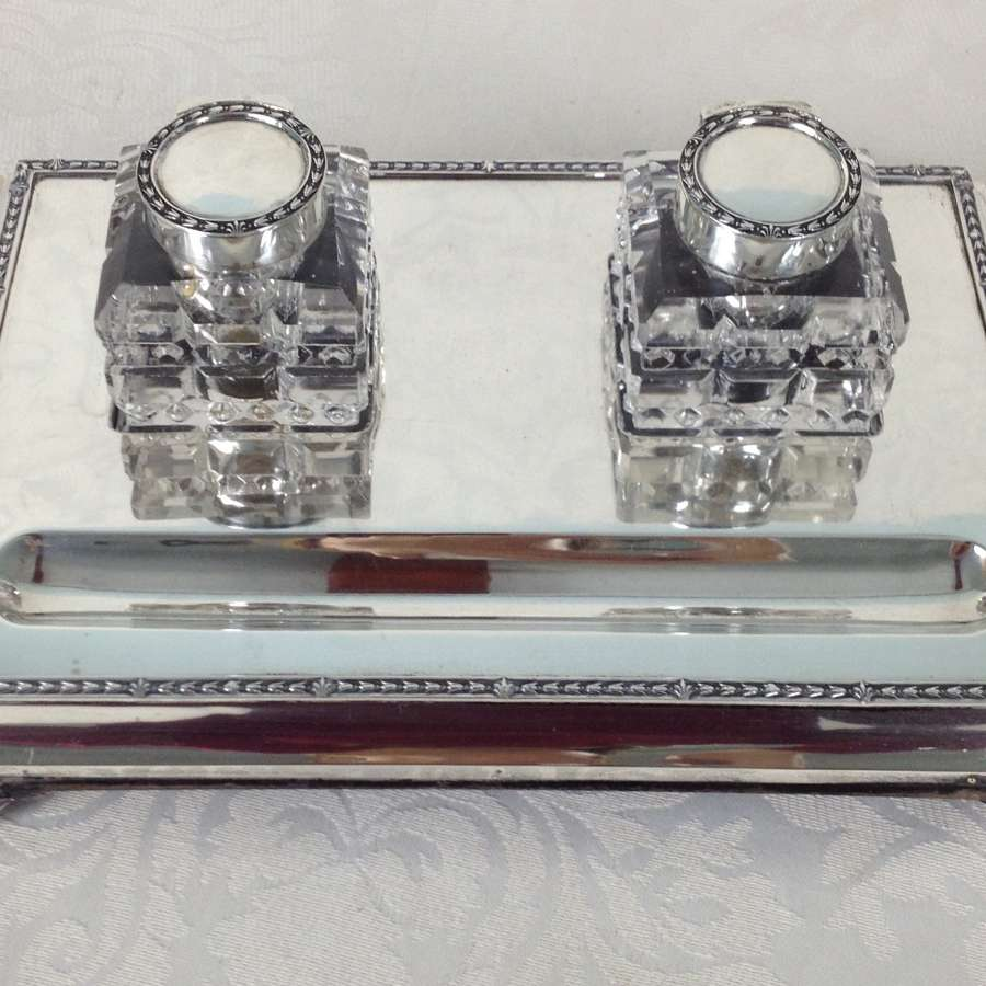 Silver Desk Inkstand Cut Glass Inkwells London 1919 Frederik Haberling