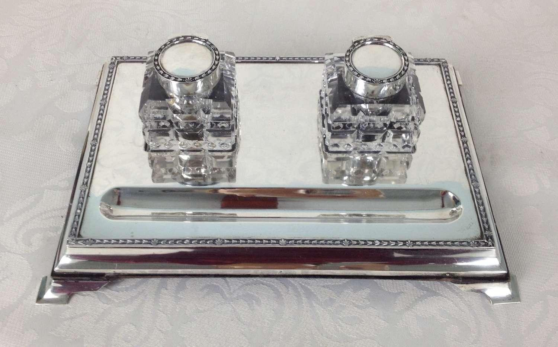 Silver Desk Inkstand Cut Glass Inkwells London 1919 Frederik Haberling