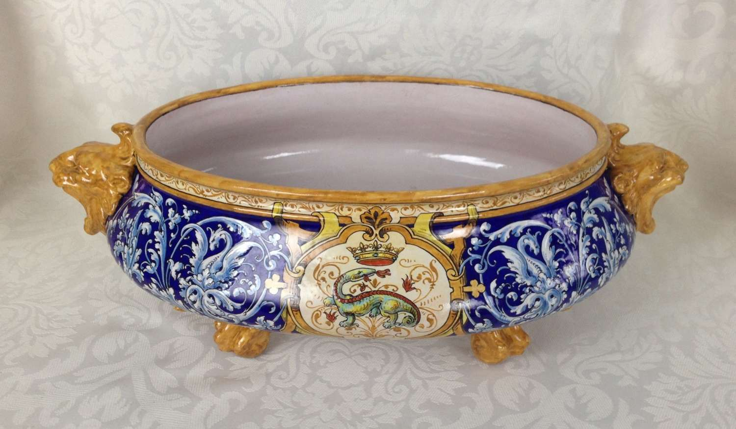 French Faience Ulysses Blois (Besnard) Jardiniere Francois I Salamande