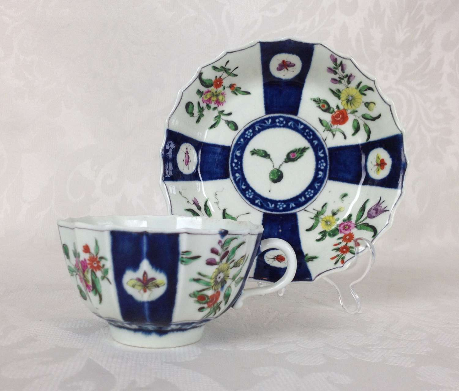 First Period Worcester Fluted Cup & Saucer c.1770