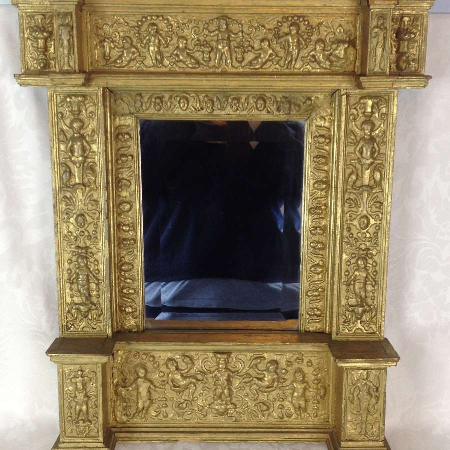 19th Century Italian Tabernacle Gilt Gesso Framed Mirror