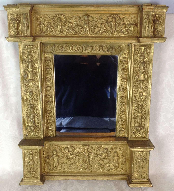 19th Century Italian Tabernacle Gilt Gesso Framed Mirror