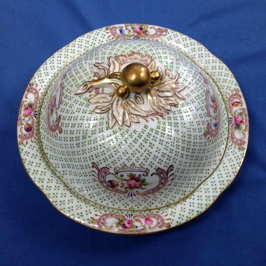 19thc Coalport Porcelain Muffin Dish & Cover Diaper Embossed C.1830