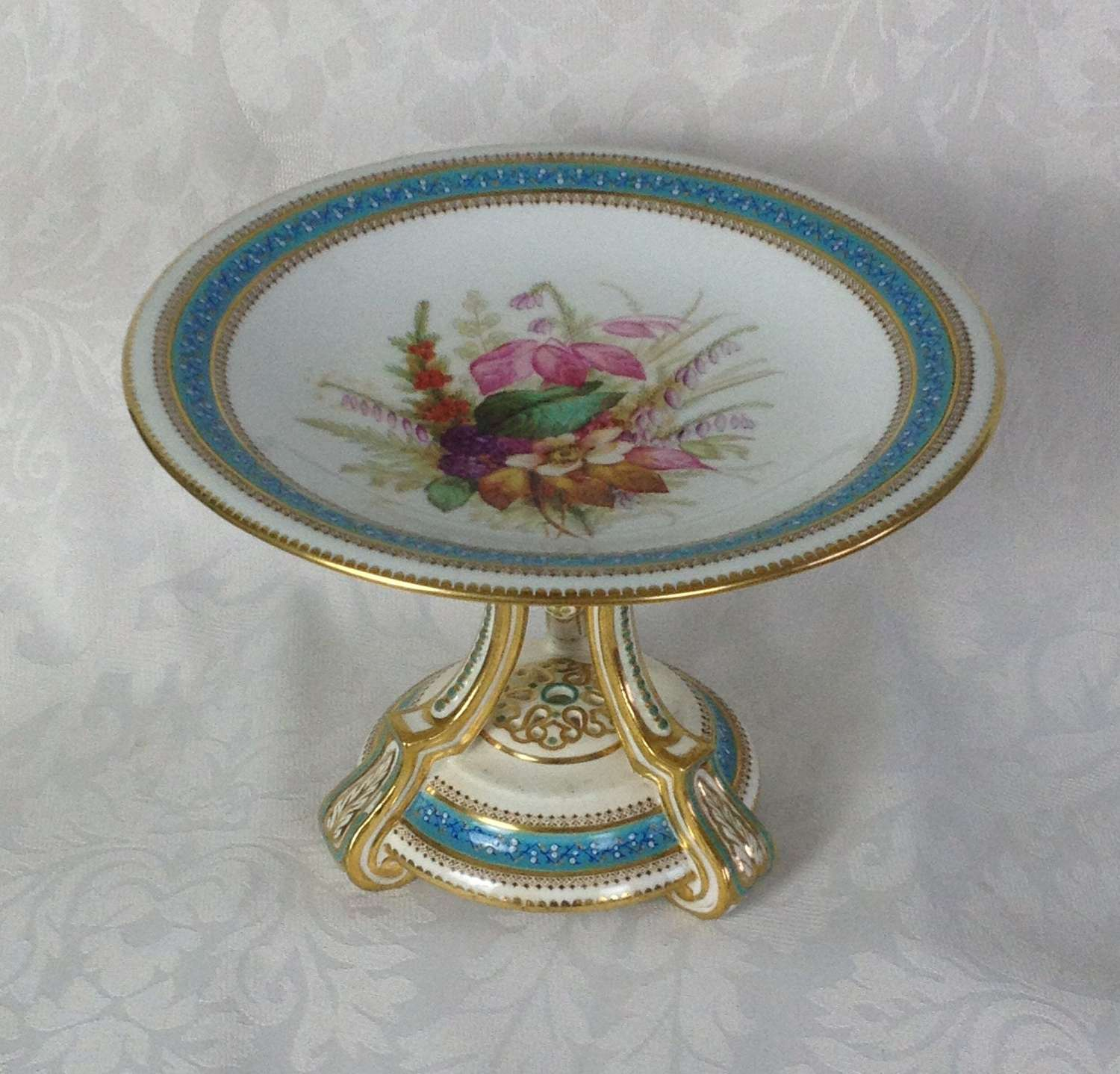 Fine Victorian Royal Worcester Comport Tazza Autumn Flowers 1874