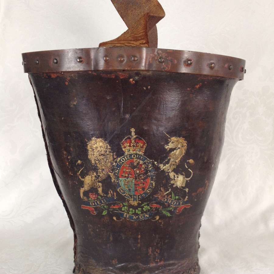 19th Century Leather Riveted Fire Bucket Royal Coat Of Arms
