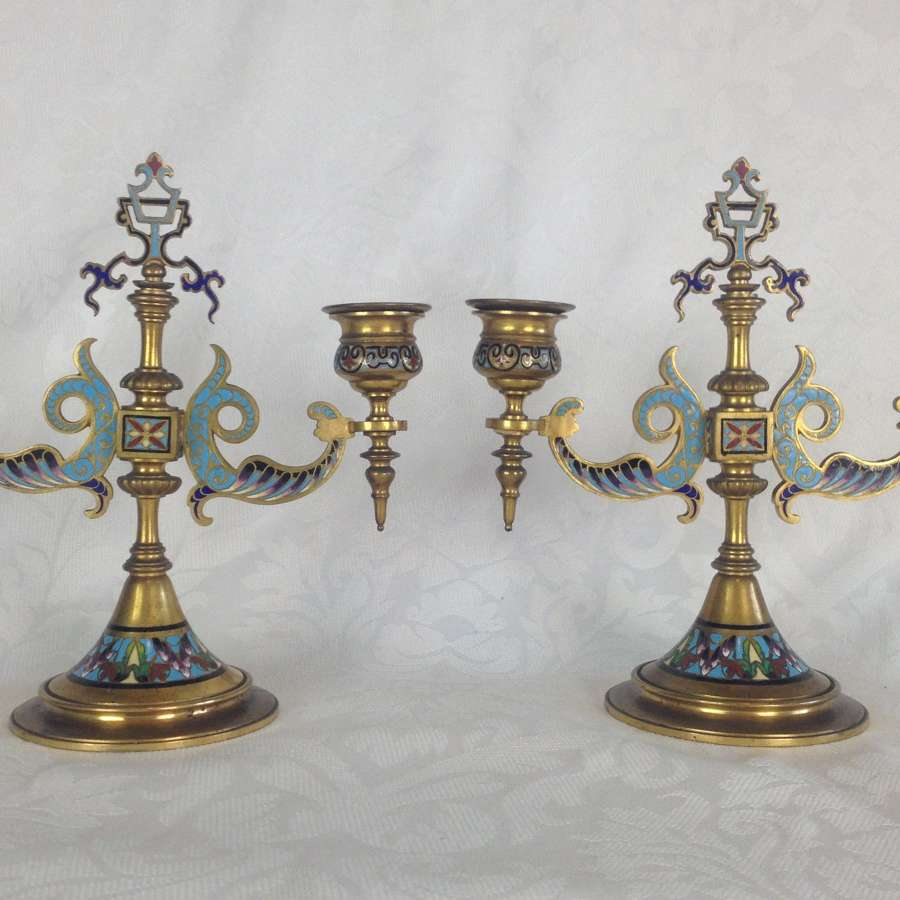 Pair 19th Century French Gilt Bronze Champleve Enamel Candelabra