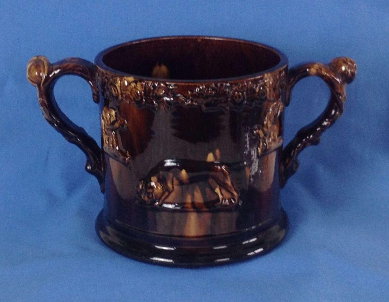 Large Staffordshire Treacle Glaze 2 Frog Mug Loving Cup