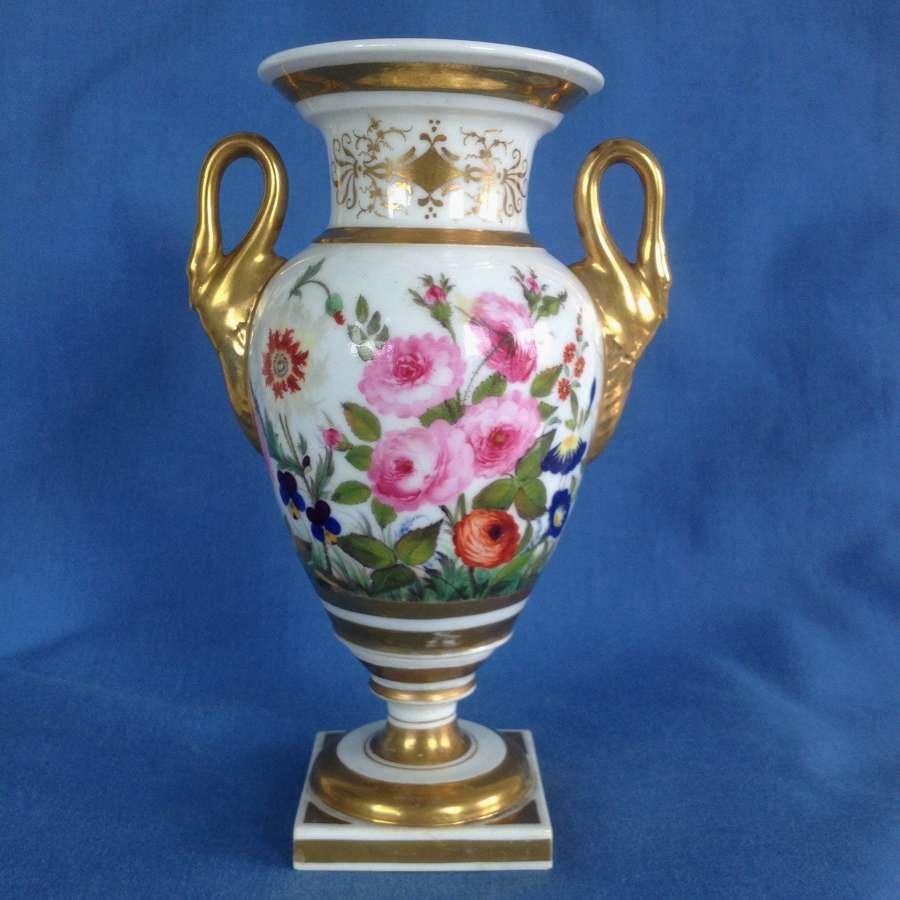 Worcester Grainger Lee & Co. Urn Pedestal Vase Swan Handles