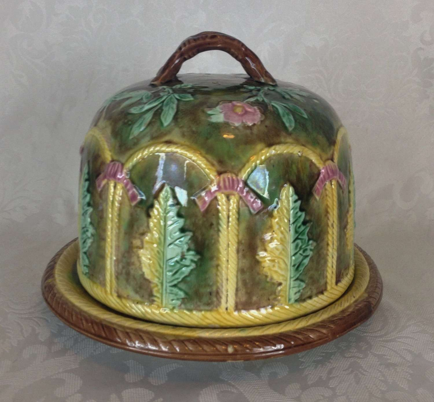 Large Victorian Forester Majolica Cheese Bell Dome & Stand