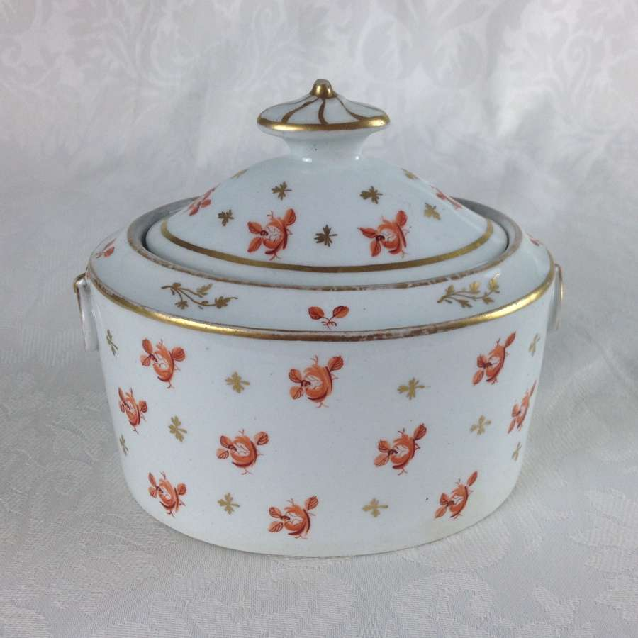 Georgian New Hall Porcelain Oval Sucrier Orange Roses