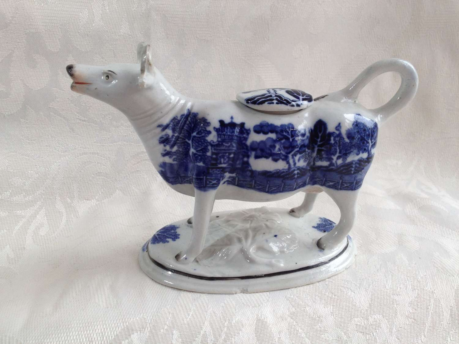 Staffordshire Blue & White Cow Creamer Willow Pattern Transfer C.1850