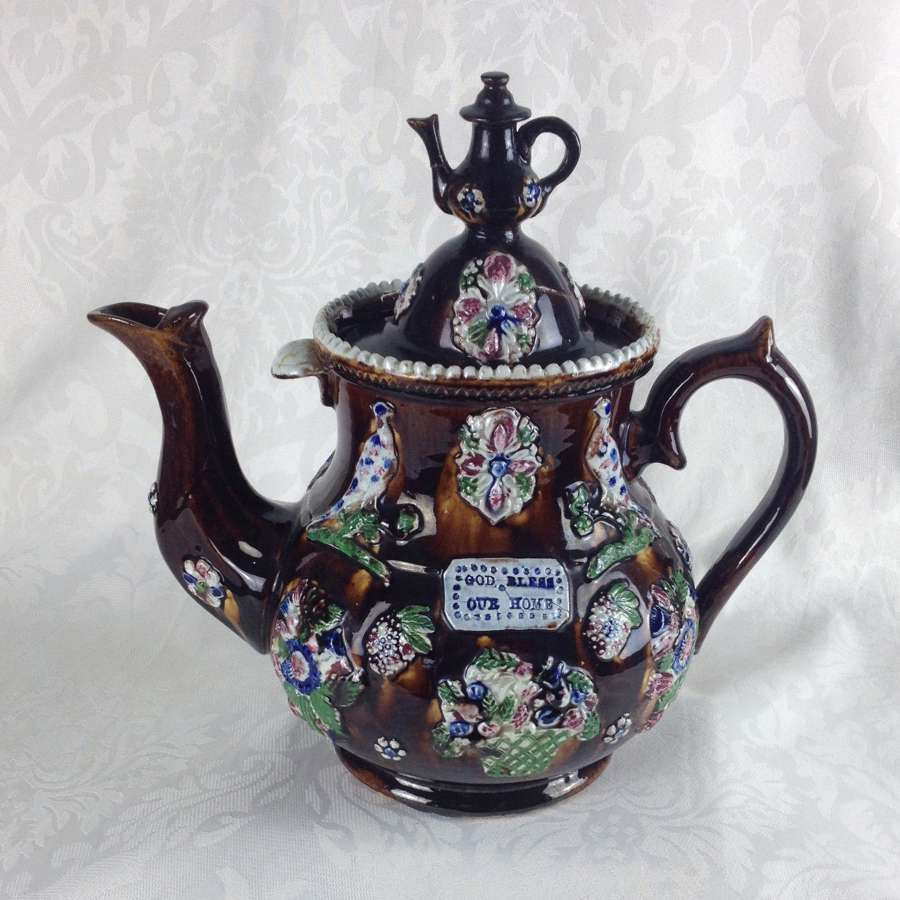 Large Victorian Measham Bargeware Teapot God Bless Our Home