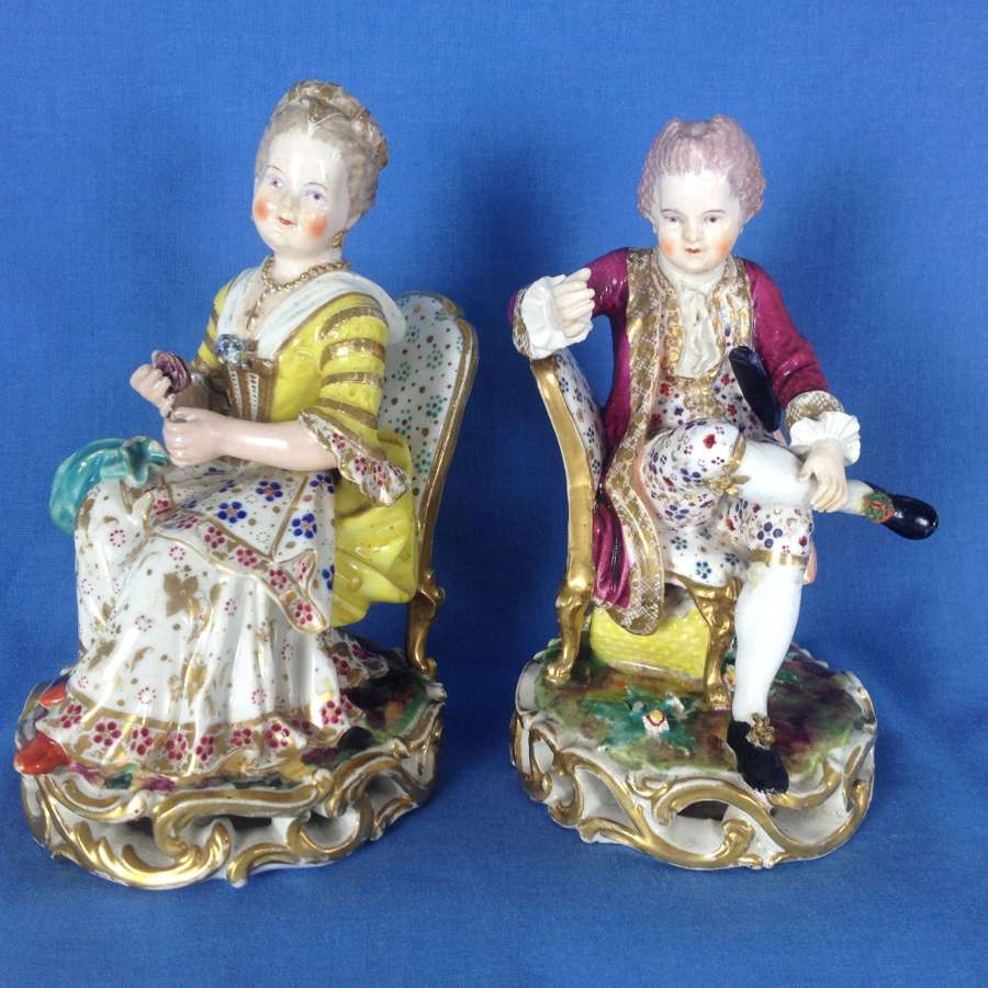 Pair Derby Porcelain Seated Dresden Figures No.314 c.1806