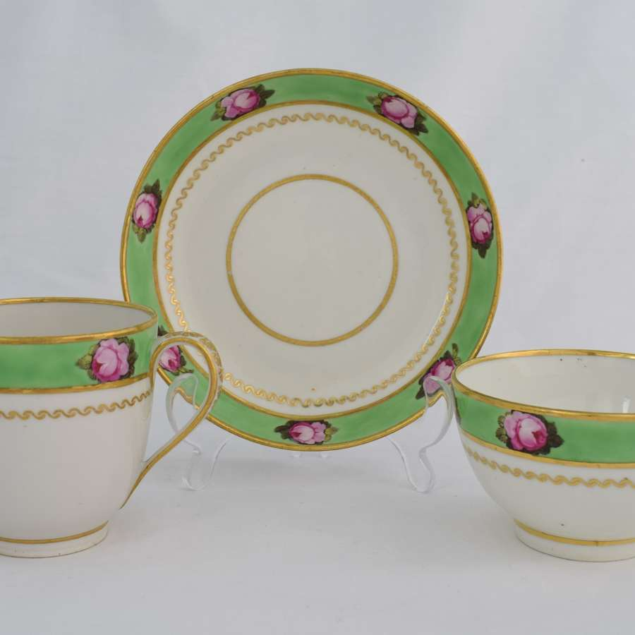 Derby Porcelain Apple Green Trio Roses Pattern 373
