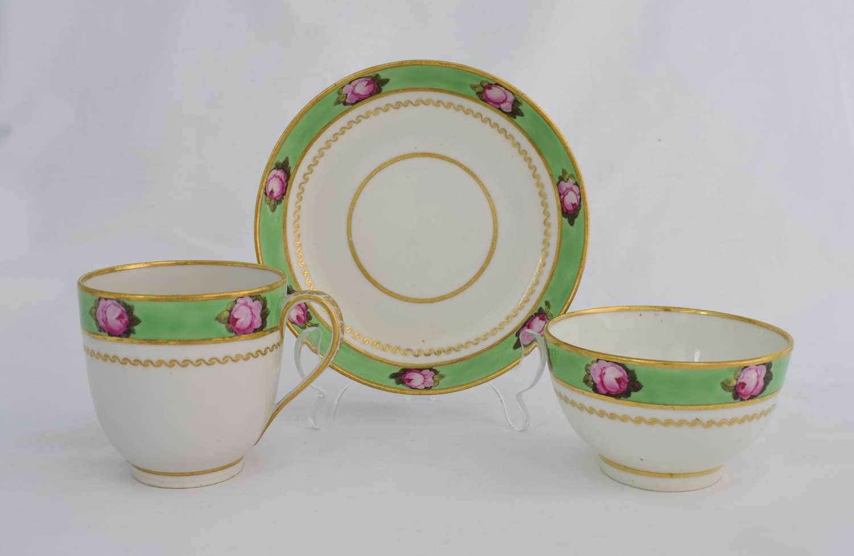 Derby Porcelain Apple Green Trio Roses Pattern 373