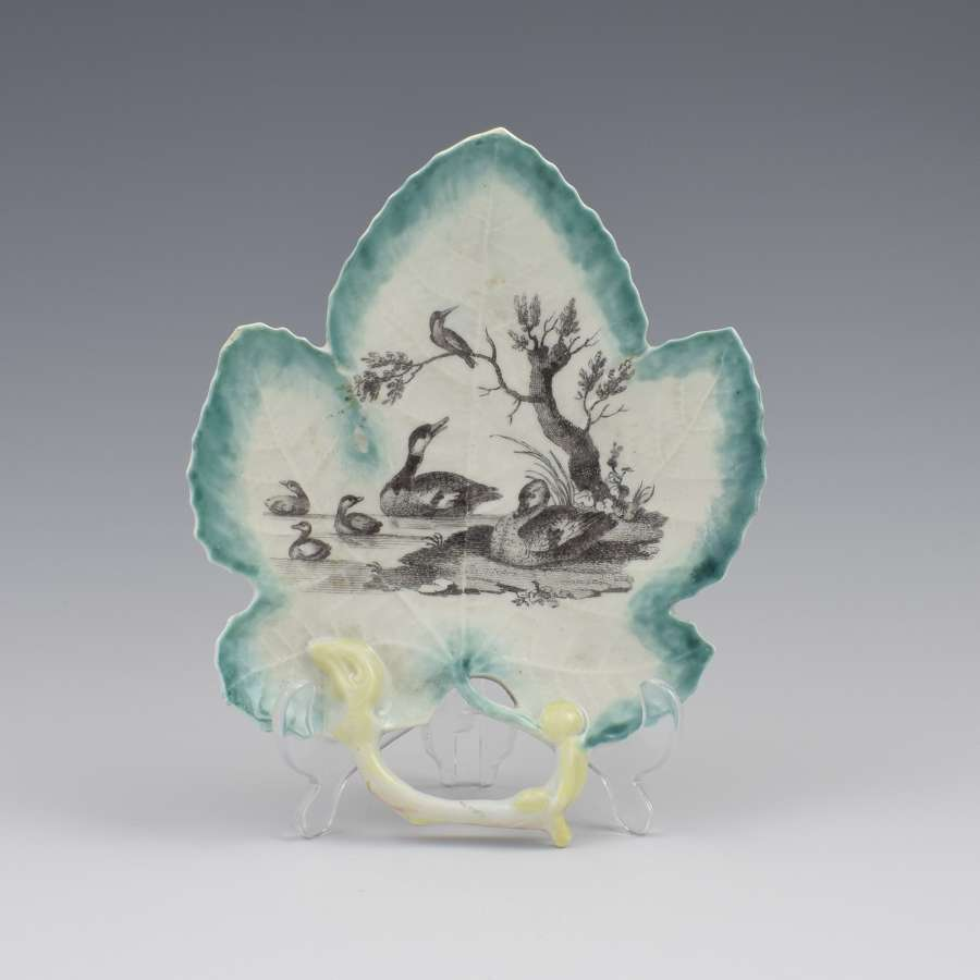 First Period Worcester Porcelain Leaf Dish Hancock Printed River Scene
