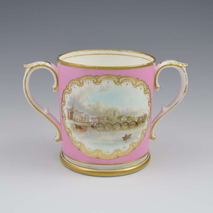 Grainger & Co. Worcester Pink Loving Cup View Of Worcester c.1870