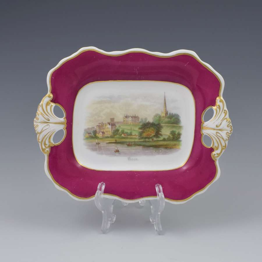Antique Davenport Porcelain Dessert Dish View Of Ross-On-Wye c.1840