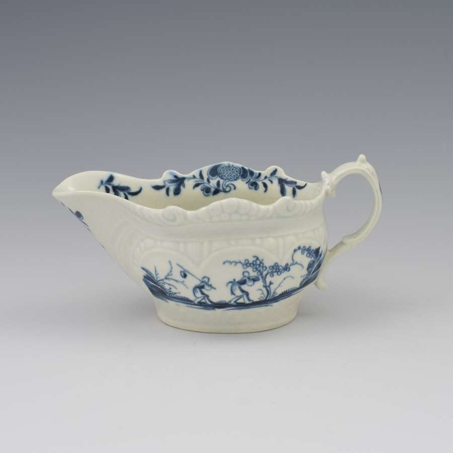 First Period Worcester Porcelain Sauceboat Two-Porter Landscape c.1770