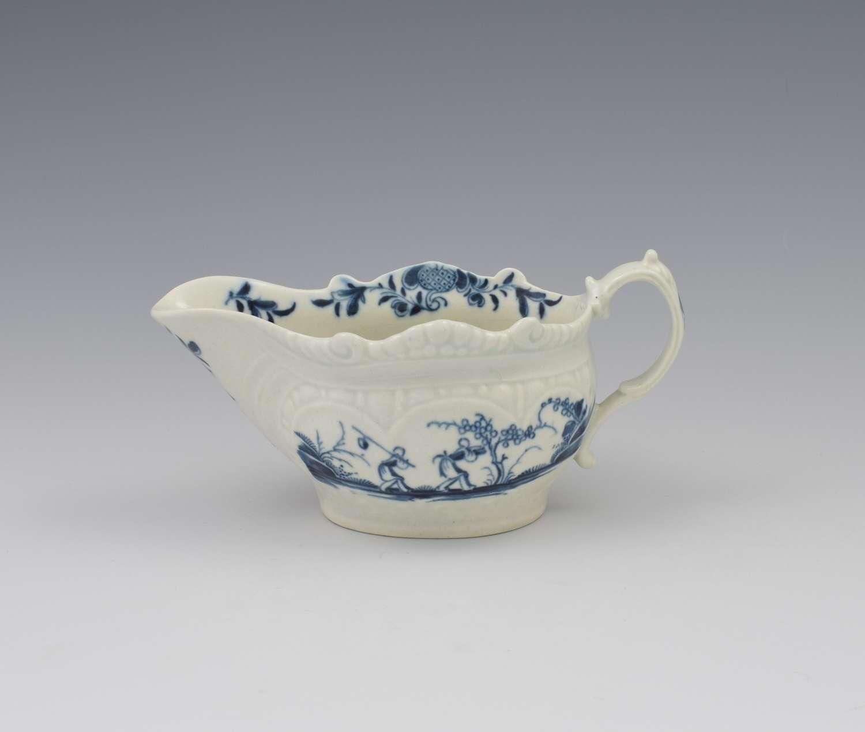 First Period Worcester Porcelain Sauceboat Two-Porter Landscape c.1770