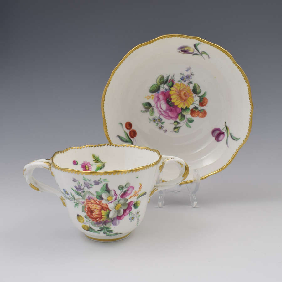 Derby Porcelain Royal Flute Waisted Chocolate Cup & Saucer c.1780