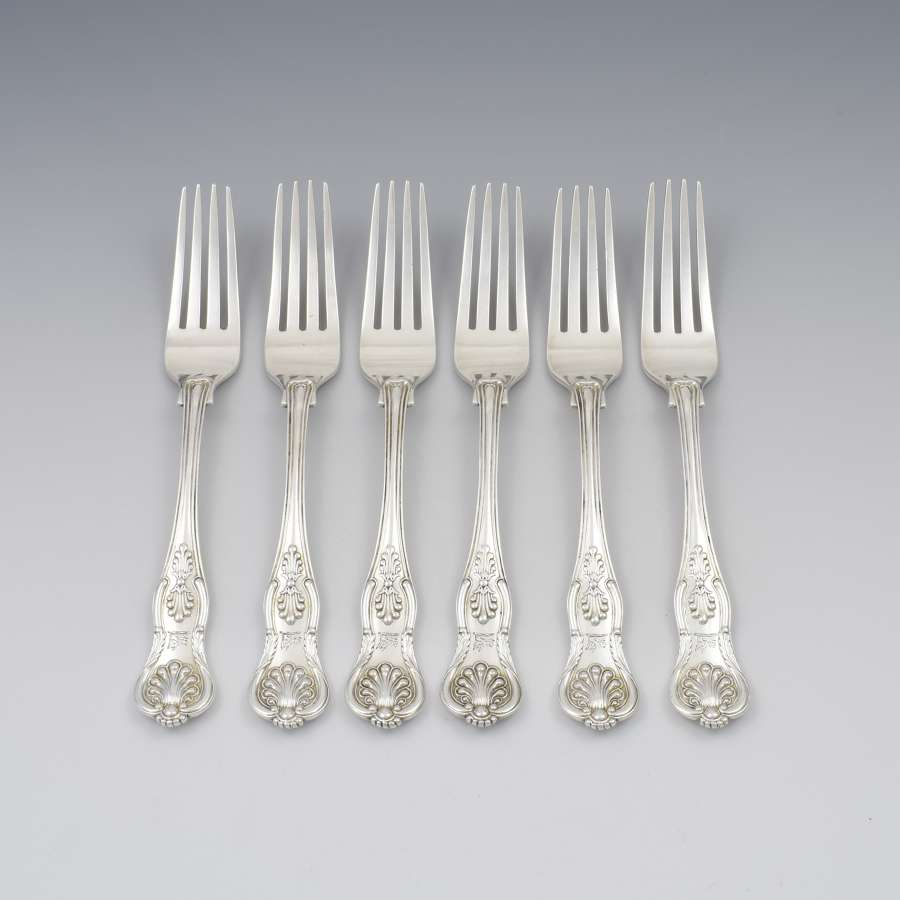 Fine Set of 6 Silver Victorian King's Honeysuckle Pattern Dinner Forks