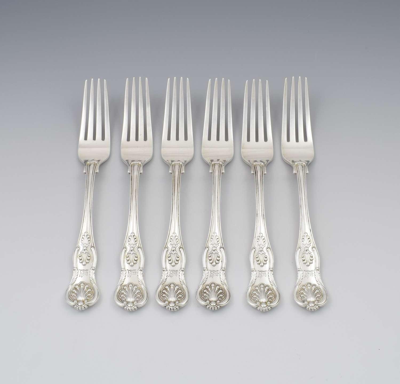 Fine Set of 6 Silver Victorian King's Honeysuckle Pattern Dinner Forks