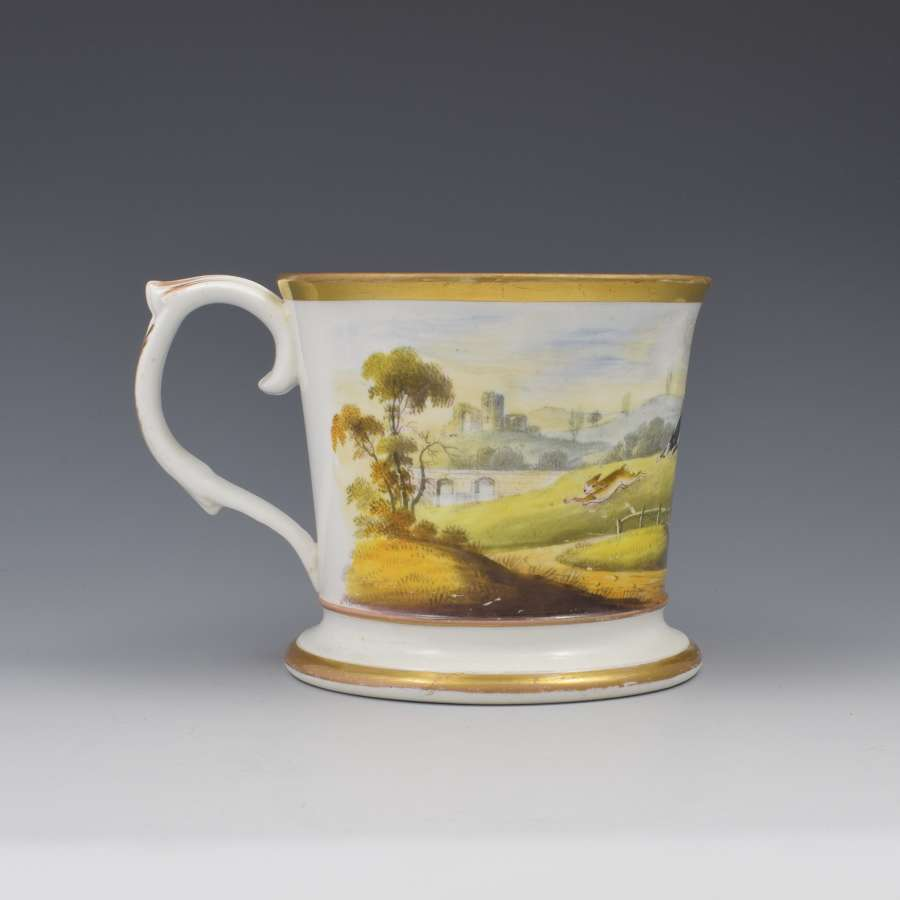 Unusual English Porcelain Porter Mug Hare Coursing Scene c.1830