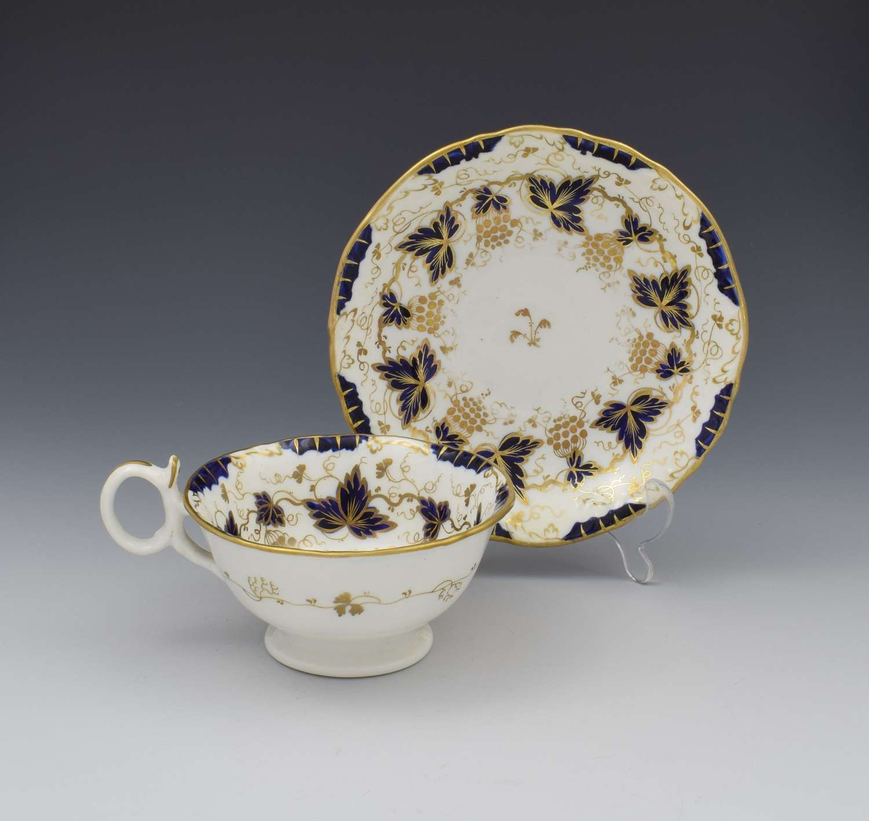 G. F. Bowers Porcelain Adelaide Shape Tea Cup & Saucer c.1845