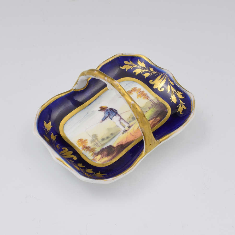 Miniature English Porcelain Ornamental Basket Boy Fishing c.1820