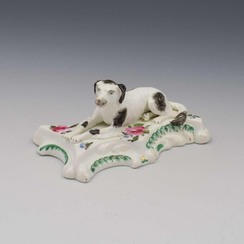 19th Century Derby Porcelain Figure Recumbent Setter Dog c.1835